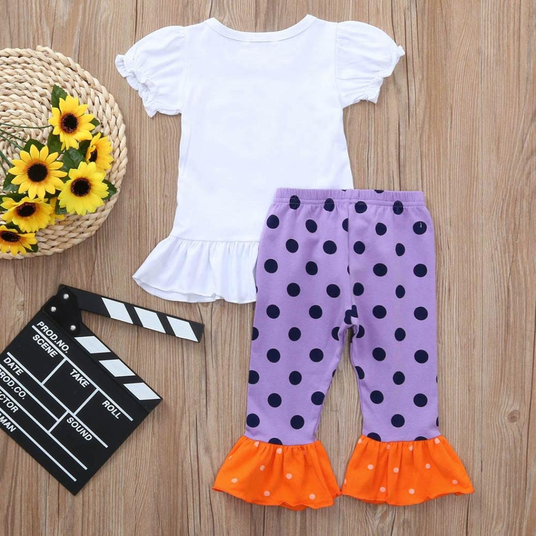 kaiCran Toddler Baby Girls Short Sleeve Funny Halloween Clothes Letter Print Tops+Dots Pants Outfits Sets