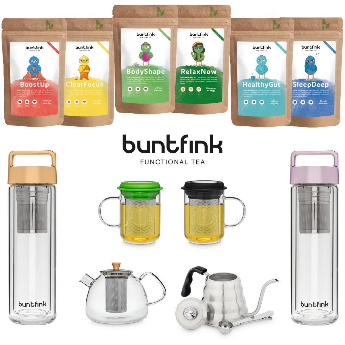 """Buntfink """"TeaPot"""" Teekanne aus Glas mit Sieb für 1.200 ml die Glasteekanne mit Siebeinsatz ist aus Borosilikatglas und hat einen Herausnehmbaren Filter Edelstahlsieb"""