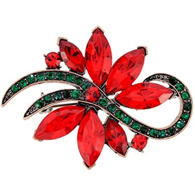 christmas poinsettia flower pin brooch - Christmas Poinsettia