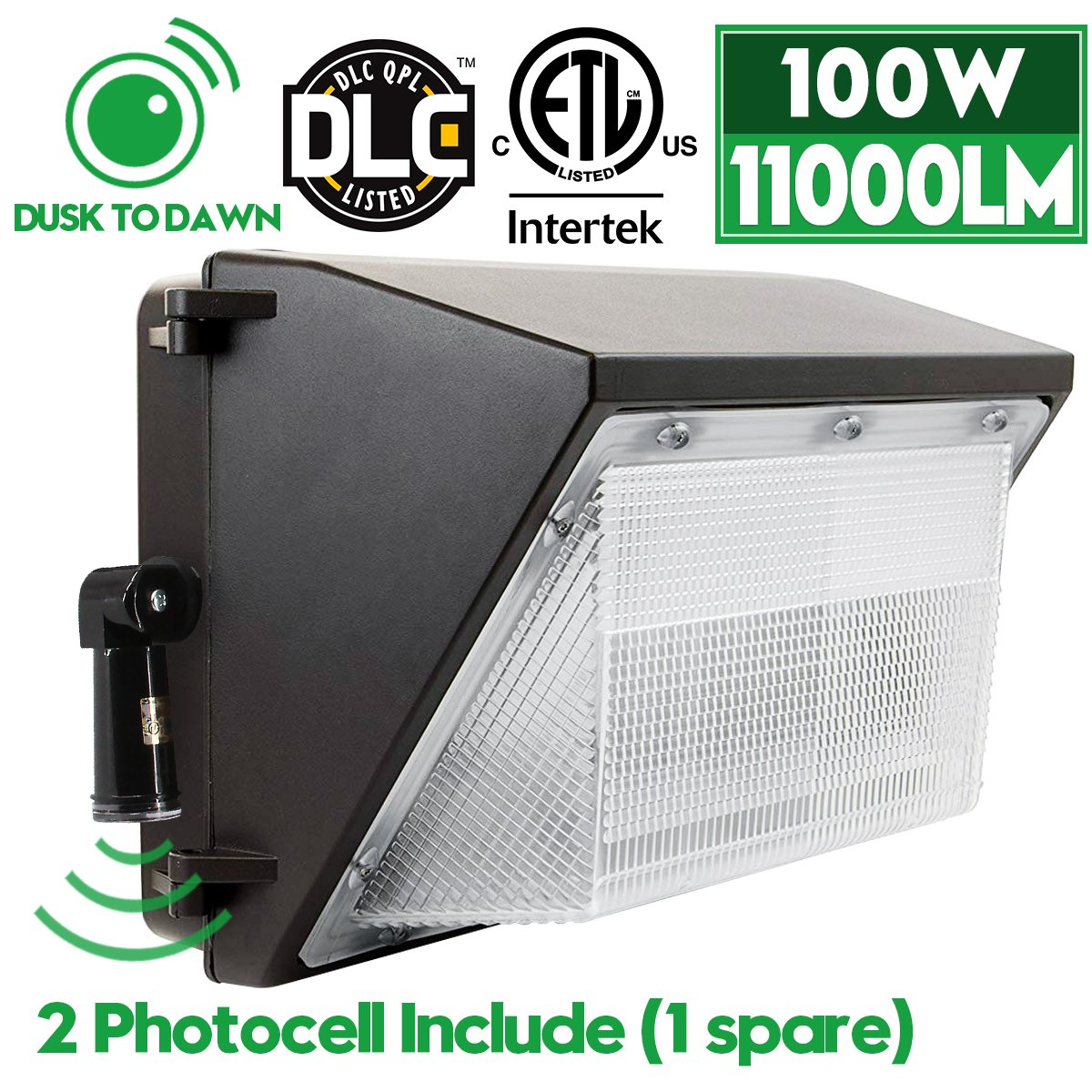 LED Wall Pack Lights with 2 Photocell, 100W Outdoor Security Area Lighting, Dusk to Dawn, 5000K Daylight White, 11000Lumen, IP65 Waterproof, Commercial Grade Flood Light