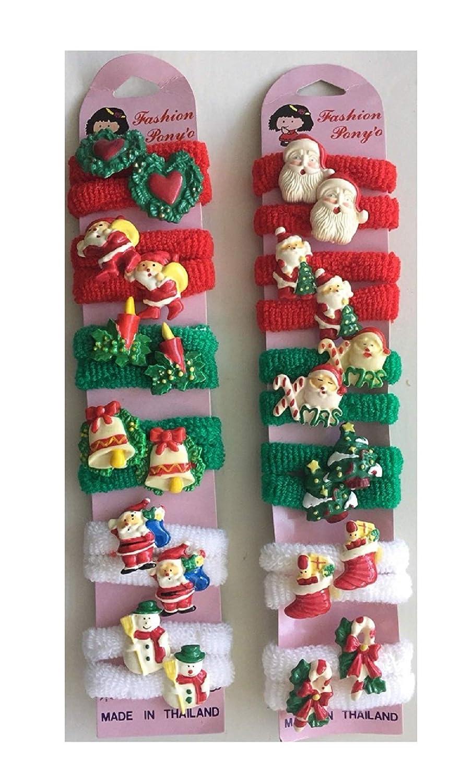 Amazon.com  24 pc CHRISTMAS Pony O Hair Tie   Christmas Ponytail  Holder(SANTA 953dcb252c5