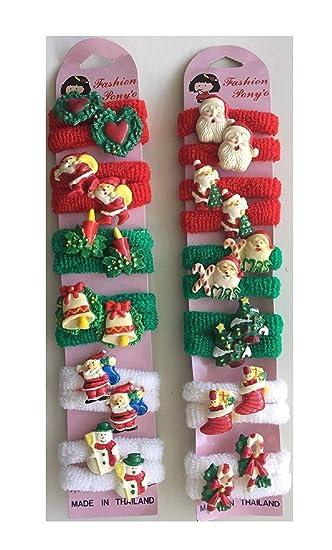 Amazon.com  24 pc CHRISTMAS Pony O Hair Tie   Christmas Ponytail ... f97b772d867