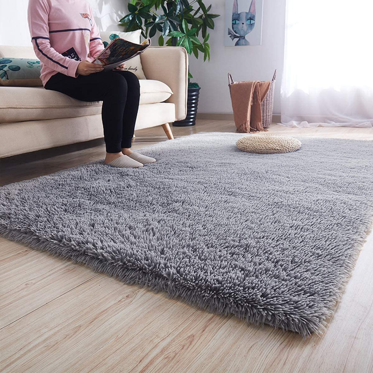 Noahas Super Soft Modern Shag Area Rugs Fluffy Living Room Carpet Comfy  Bedroom Home Decorate Floor Kids Playing Mat, 8 x 8.8 Feets, Grey