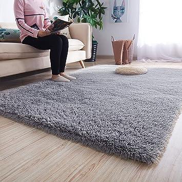 Plush Fluffy Shag Shaggy Rug Silky Thick Soft Area Rugs Floor Carpet Mat Home