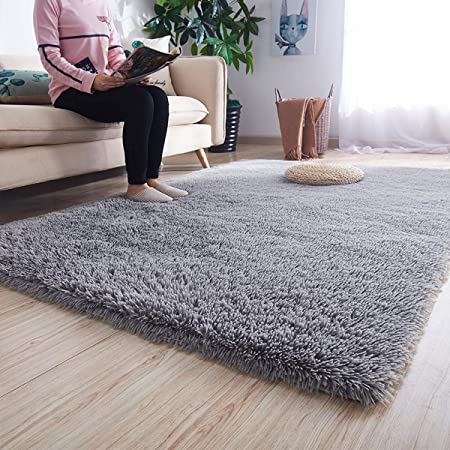 Noahas Super Soft Modern Shag Gray Area Rugs Fluffy Living Room Carpet  Comfy Bedroom Home Decorate Floor Kids Playing Mat 4 Feet by 5.3 Feet, Gray