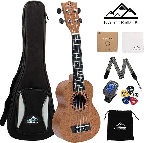 EastRock Soprano Concert Ukulele 23 Inch Ukelele Set for Kids Beginners & Adults with Bag Tuner Strap Cleaning Cloth Ukulele Picks Carbon Strings (Concert