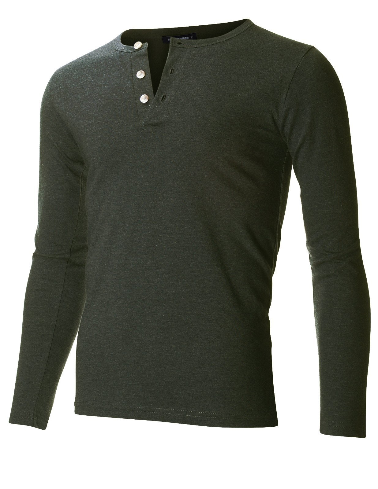FLATSEVEN Men's Slim Fit Casual Long Sleeve Henley T Shirt (THL100) Army Green, L by FLATSEVEN