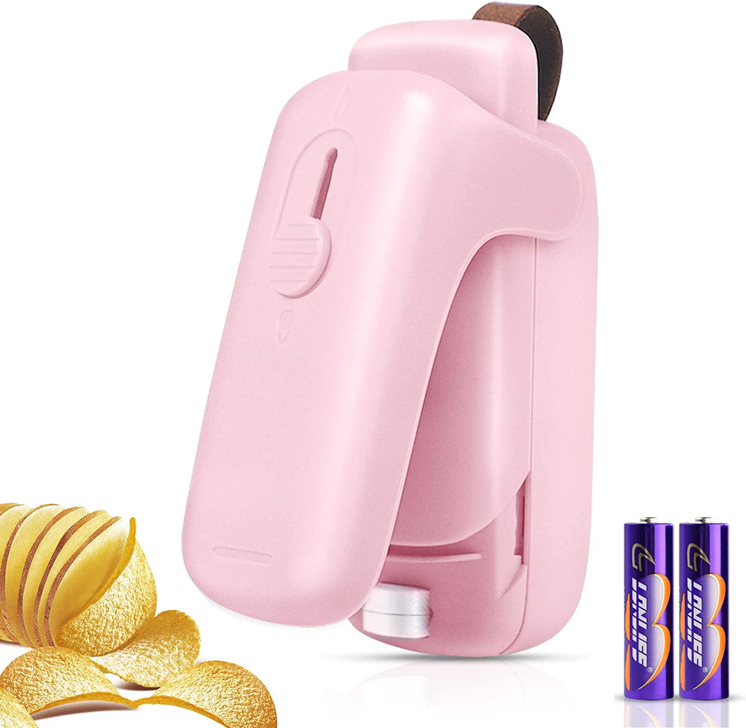 LORDSON Mini Bag Sealer, Handheld Portable Bag Heat Vacuum Resealer, 2 in 1 Heat Sealer & Cutter Food Saver Machine for Plastic Bags Snack Cookie Candy Chip Bags (Battery Included)