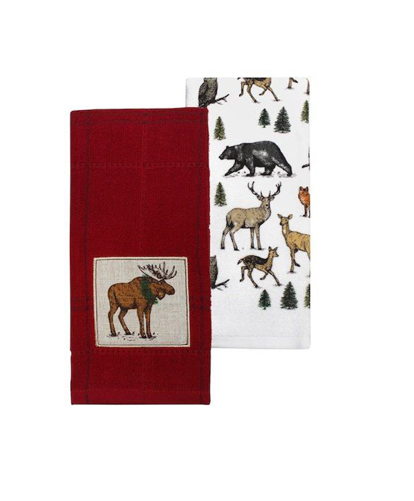 St. Nicholas Square Christmas Moose and Wildlife Kitchen Towels 2 Piece Set Through The Woods