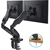 HUANUO Dual Monitor Stand - Adjustable Gas Spring Monitor Desk Mount Swivel VESA Bracket with C Clamp, Grommet Mounting Base for 17 to 27 Inch Computer Screens - Each Arm Holds 4.4 to 14.3lbs