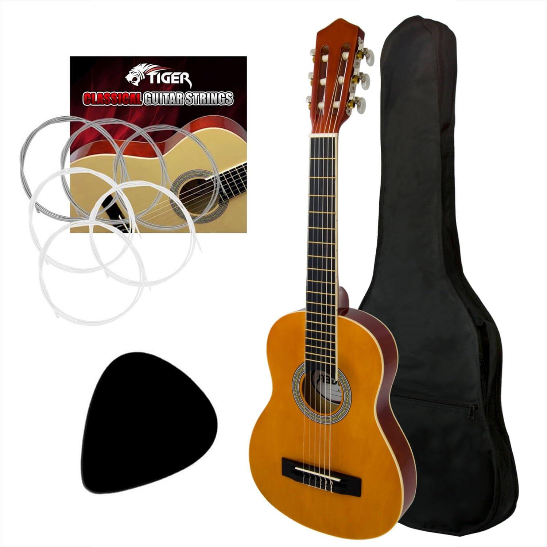 Tiger – Guitarra clásica (tamaño 1/4, para zurdos, – Cuerdas de ...