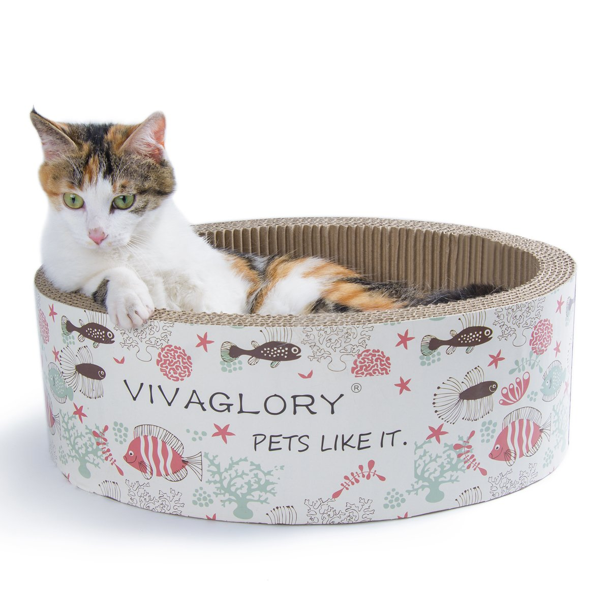 Vivaglory Oval Cat Scratcher Scratching Bed Lounge Durable Cardboard Pad with Catnip