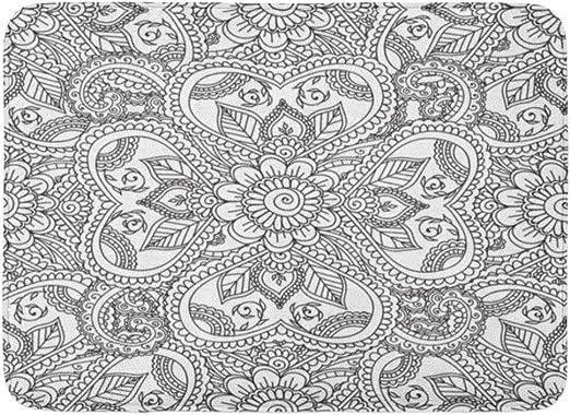 Fussmatten Bad Teppiche Outdoor Indoor Fussmatten Muster Malvorlagen Fur Erwachsene Henna Mehndi Kritzeleien Abstract Floral Paisley Mandala Buch Frieden Badezimmer Dekor Teppich Badematte Amazon De Kuche Haushalt