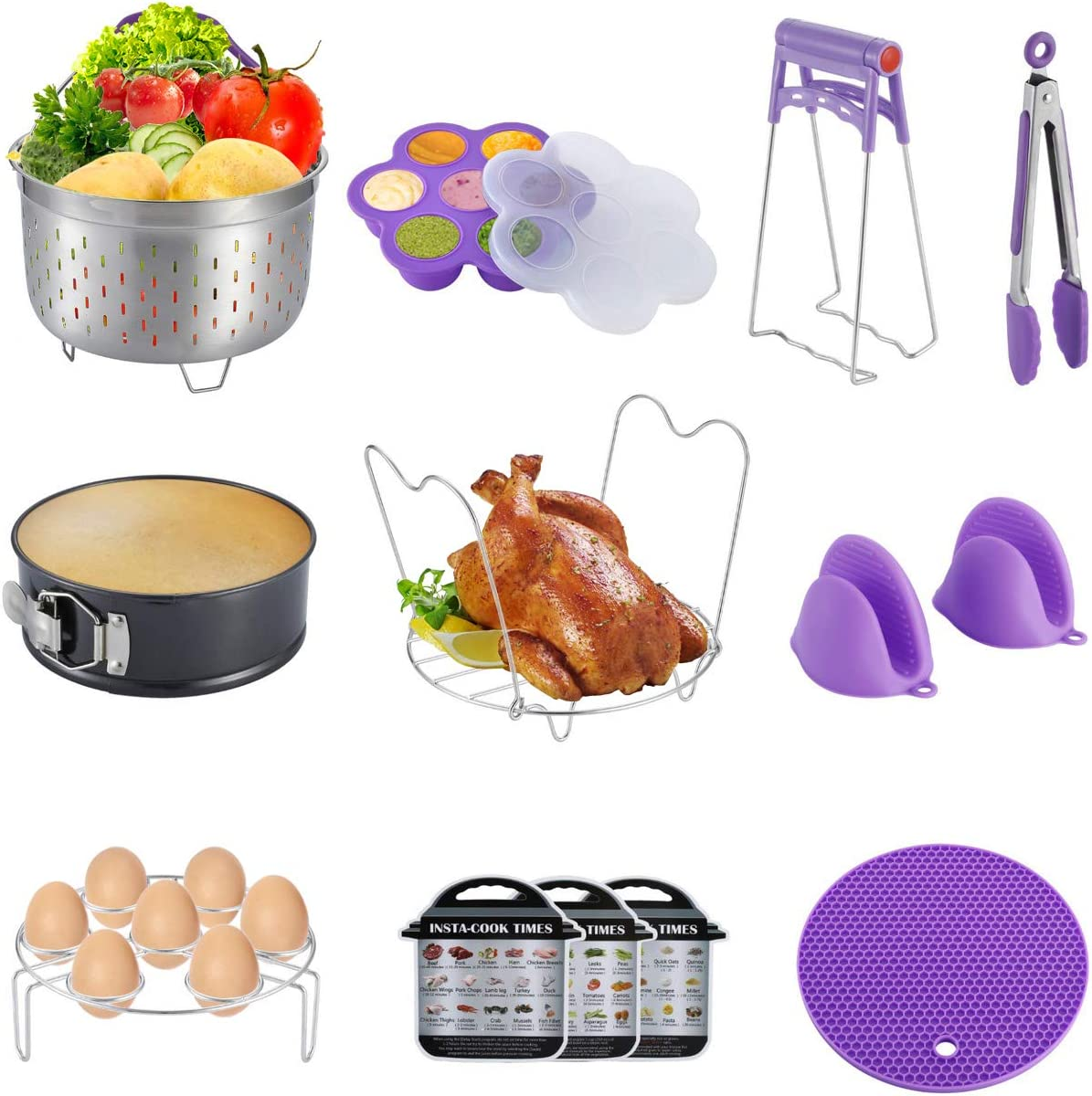 WarmHut 10 Pieces Electric Pressure Cooker Accessories Set - Compatible With 6QT 8QT Instapot, Steamer Basket, Springform Pan, Egg Rack, 3 Magnetic Cheat Sheets of Vegetables/Grains/Meat