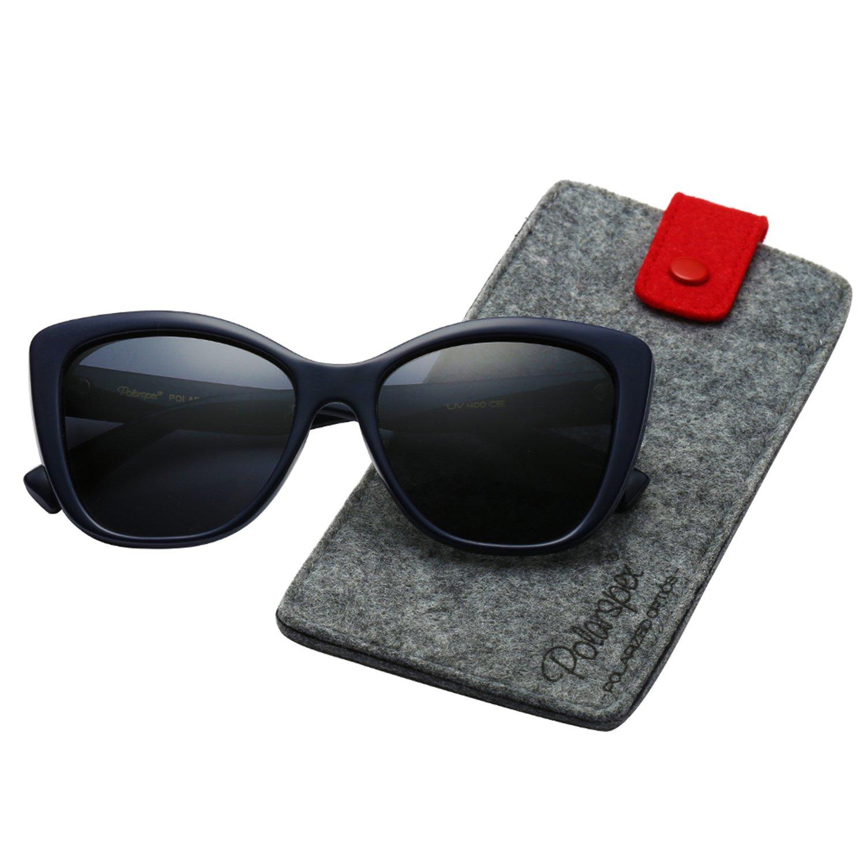 Polarspex Polarized Women's Vintage Square Jackie O Cat Eye Fashion Sunglasses (Navy Blue | Polarized Smoke, Smoke)