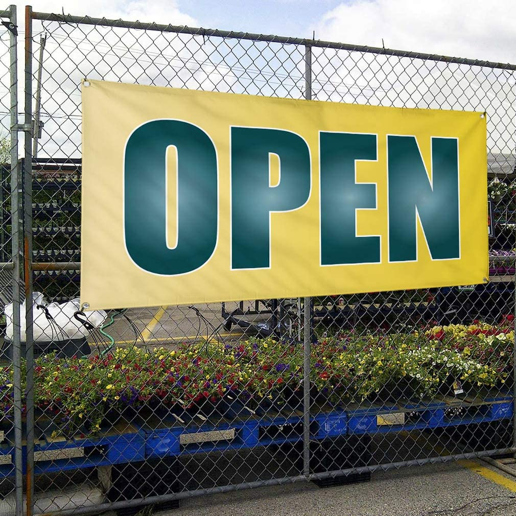 44inx110in Vinyl Banner Sign Open #1 Style H Business Open Outdoor Marketing Advertising Yellow One Banner Multiple Sizes Available 8 Grommets