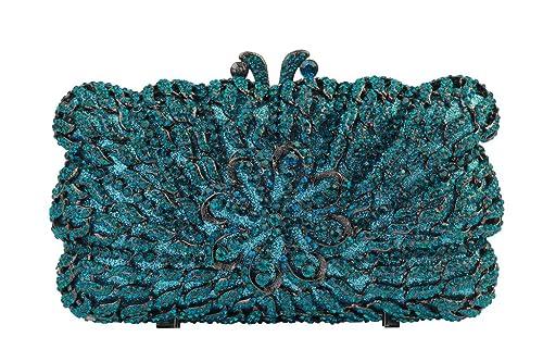 YILONGSHENG La cadena de cristal de las mujeres de baile monederos Embrague(azul)