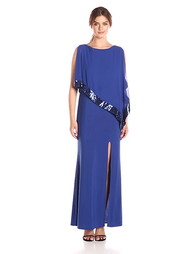 b257983e1d R M Richards Women s Chiffon Gown with Overlay at Amazon Women s Clothing  store