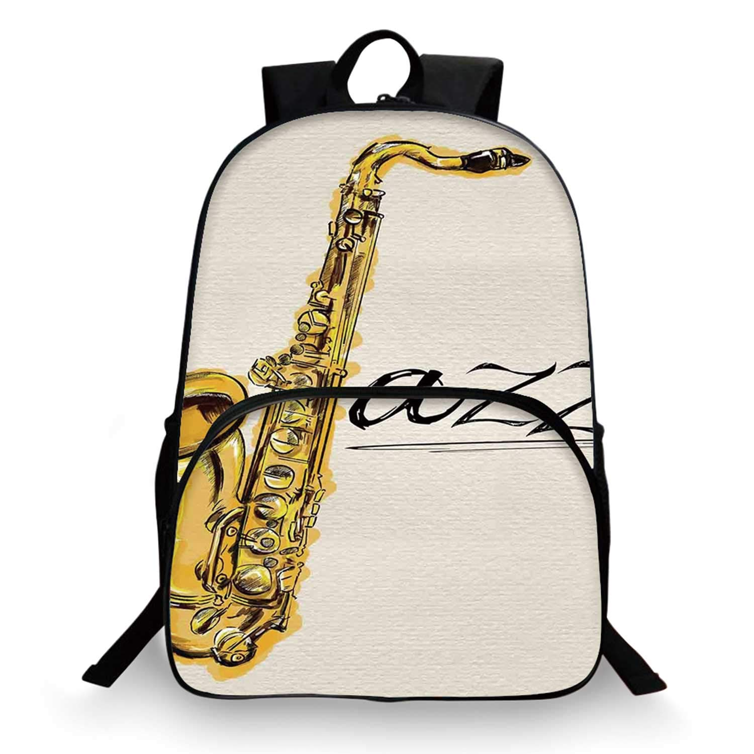 Jazz Music Decor Various Schoolbag,Classic Painting of Jazz Saxophone Print on Plain Background Vintage Style Band Deco for student,11''Lx6''Wx15''H by C COABALLA