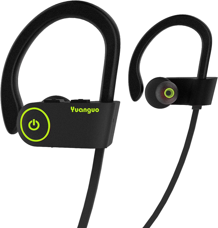 HolyHigh Auriculares Bluetooth Deportivos,Auriculares Inalámbricos In-Ear Yuanguo2 Correr con Micrófono Anti-Sudor, Duración 8H,Cancelación de Ruido Gimnasio-Negro
