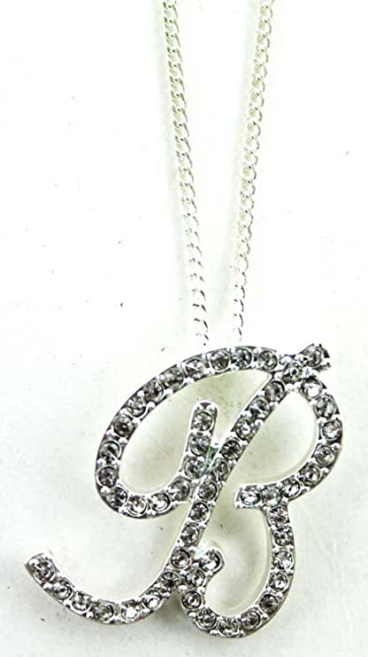 rhinestone letter b pendant necklace initial cursive letter necklace b