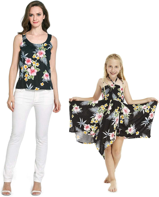 Matching Hawaiian Luau Mother Daughter Romper Elastic Strap Dress in Day Dream Bloom