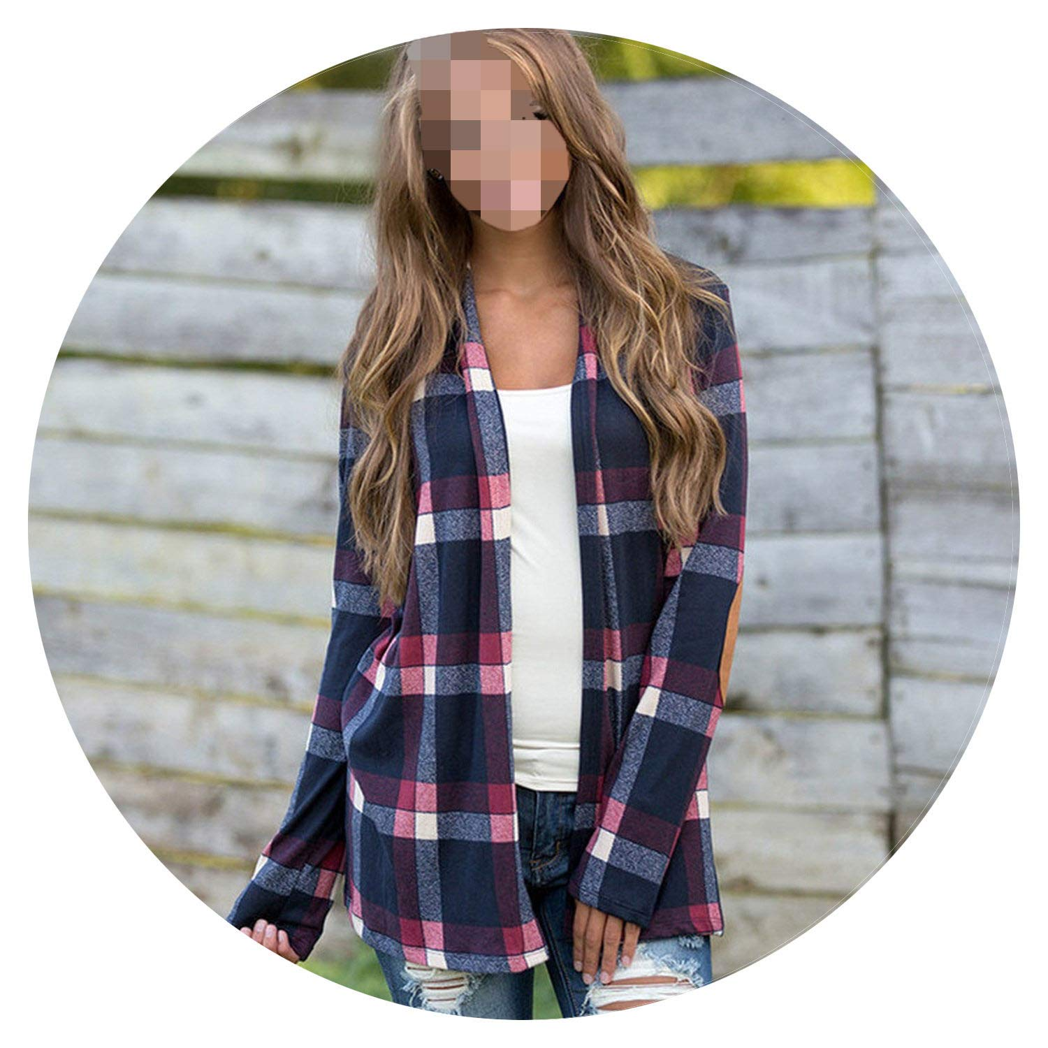 bluee Toyshops Women Autumn Womens Plaid Cardigan Round Neck Woman Cardigan Sweater Long Sleeve Red Cardigan Women