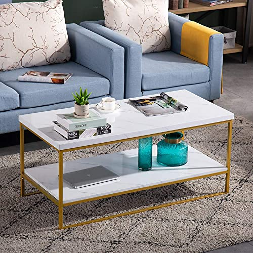 Bonnlo Modern Coffee Table,Faux Marble Top Rectangular Coffee Table