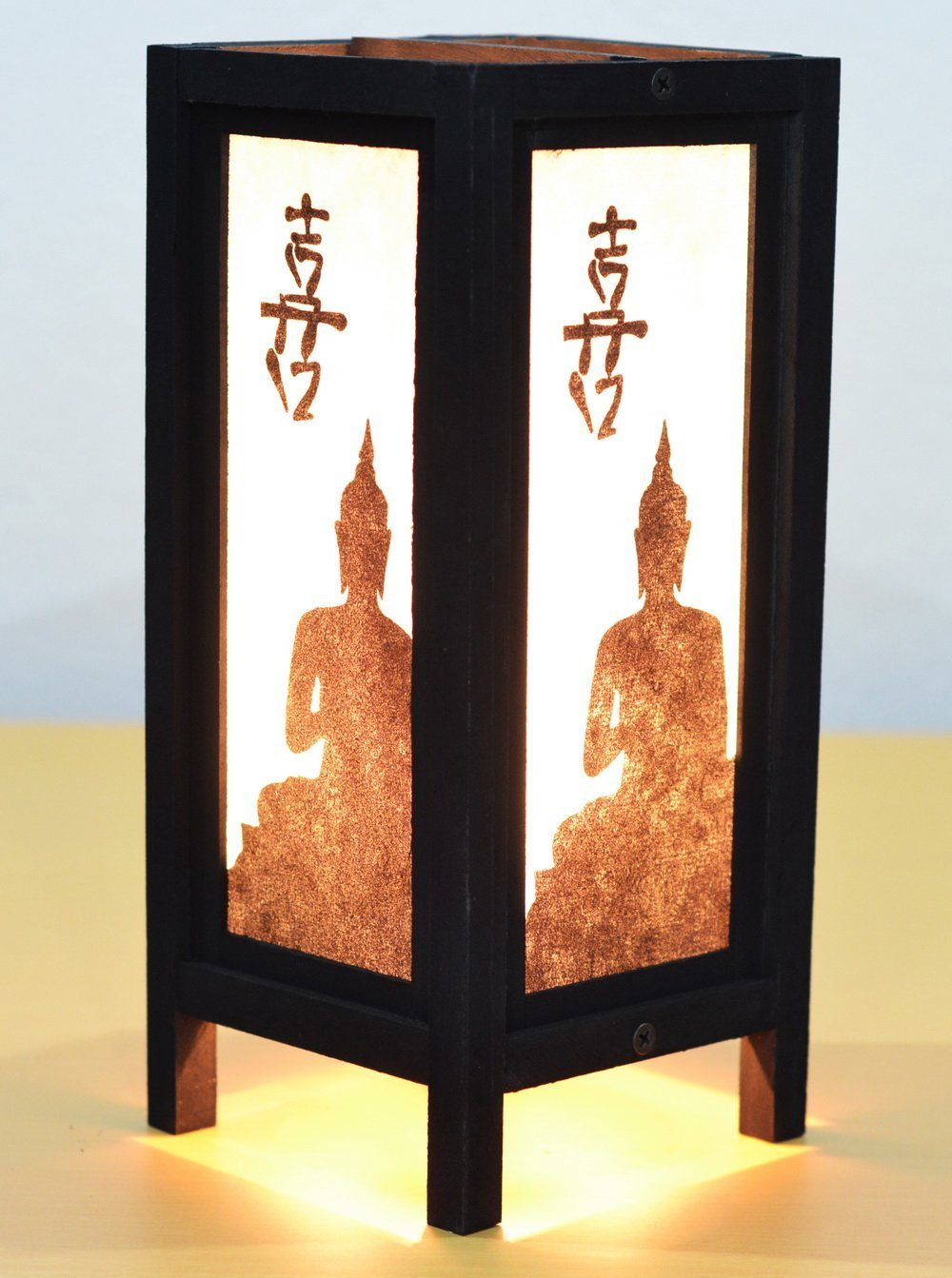 Decorative Lamp Thai Vintage Handmade Asian Oriental Black Buddha Bedside Table Light Floor Wood Paper Lamp Shades Home Bedroom Garden Decoration Modern Design by Jakapan's Shop