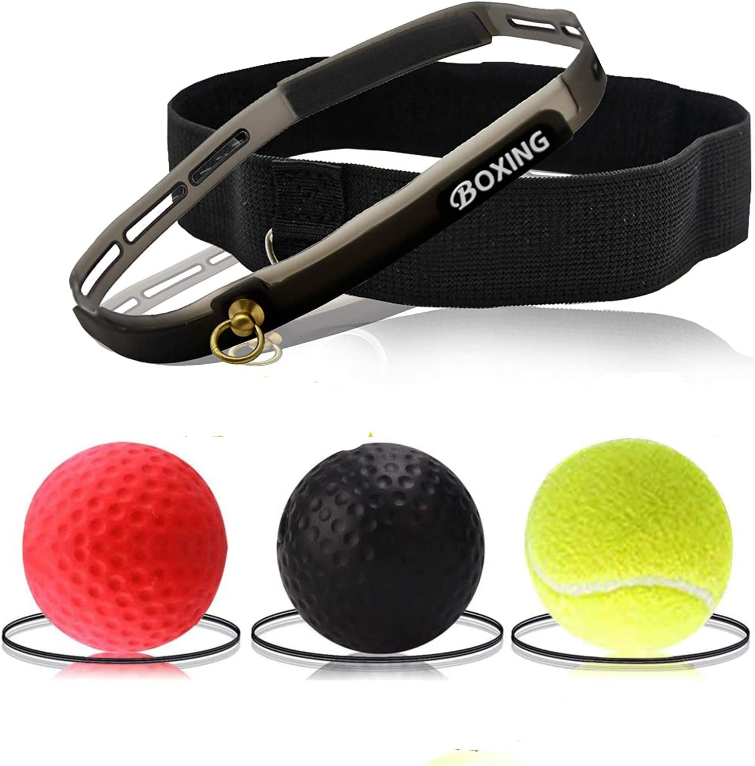 Govary Boxing Reflex Ball - 3 Difficulty Level Boxing Ball with Headband, Fight Ball Reflex for Improve Speed Reactions and Hand Eye Coordination, Home Sports for Boxing,Combat Sports Training,Fitness