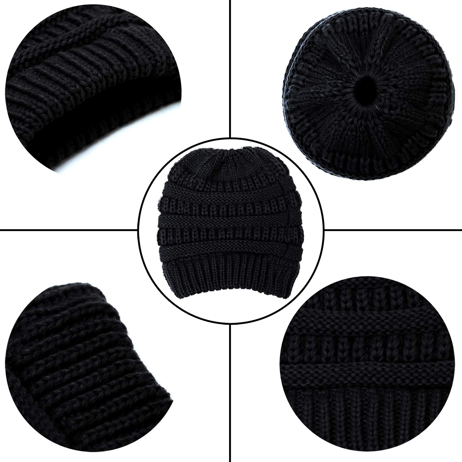 Aneco Winter Warm Beanie Knitted Beanie Hat And Gloves Set Set di Sciarpe e Guanti per Uomo e Donna