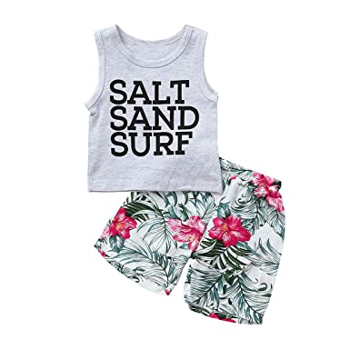 c8c369a7888d Amazon.com  DIGOOD Toddler Baby Boys Girls Letter Vest Tops+Floral ...