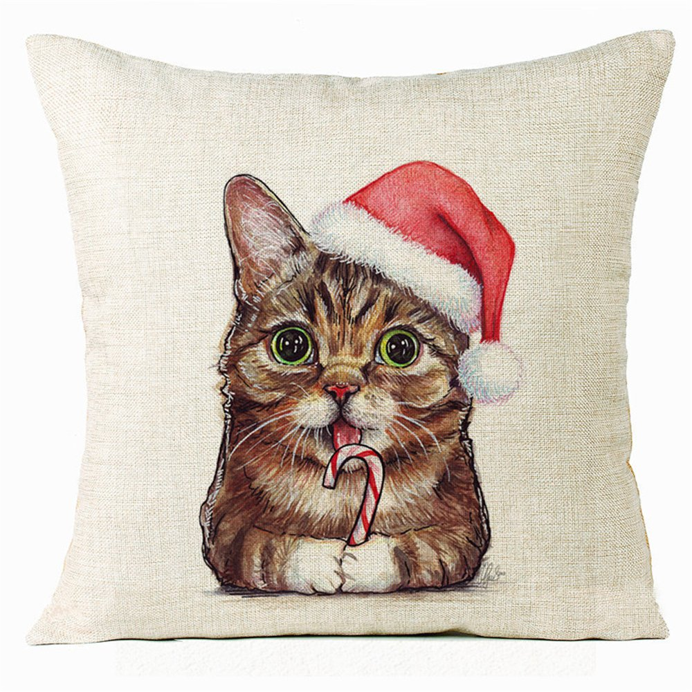 Pillowcase, Xmas Christmas Cat Animal Cotton Linen Square Decorative Pillow Case Cushion Cover 16x16inch one side
