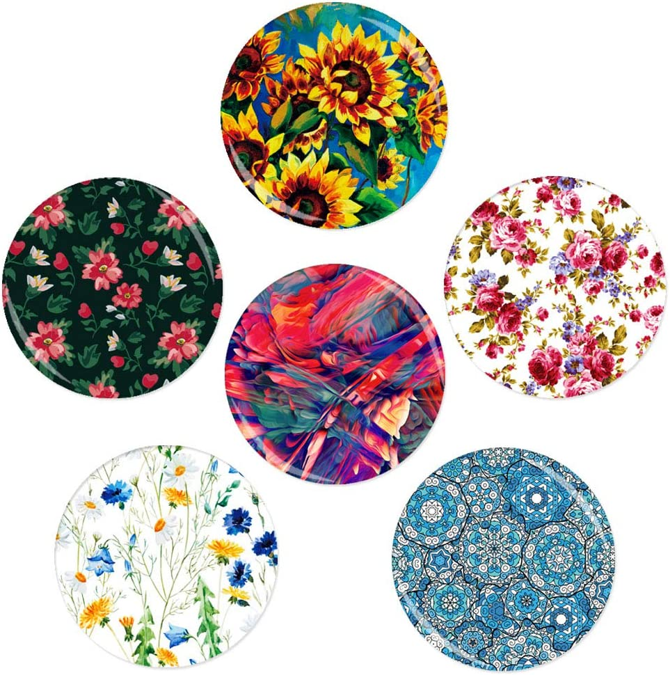 6 Pack Floral Fridge Magnets, 1.26 inch Diameter Refrigerator Strong Permanent Rare Earth Magnets Magnets for Office Cabinet Refrigerator Whiteboard,Photo,Home Decorations