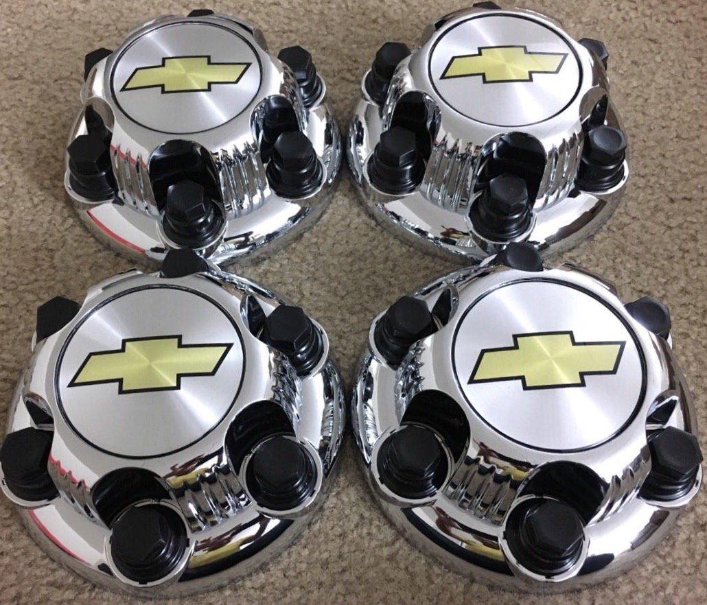 REPLACEMENT PART: Set of 4 Chrome Chevy Silverado 6 Lug 1500 Center Caps 16'' 17'' Steel Wheels