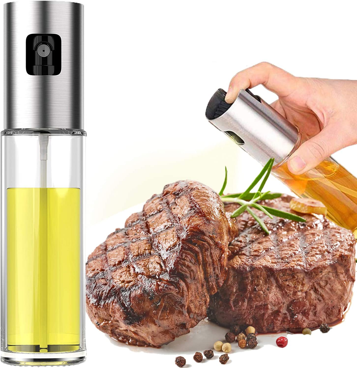 Olive Oil Sprayer for Cooking, Oil Spray Bottle for Oil Versatile Glass Spray Olive Oil Bottle for Cooking,Vinegar Bottle Glass,for Cooking,Baking,Roasting,Grilling