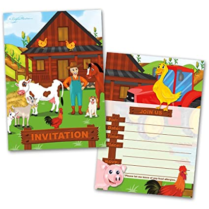 Party Invitation Cards 20 With Envelopes Farm Animals Themed Flat Style