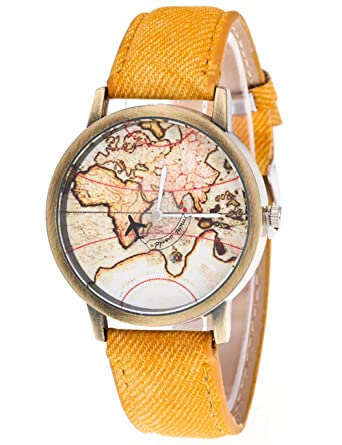 Weant womens watches on sale mini world plane map globe dial cowboy weant womens watches on sale mini world plane map globe dial cowboy strap retro lady watch gumiabroncs Gallery