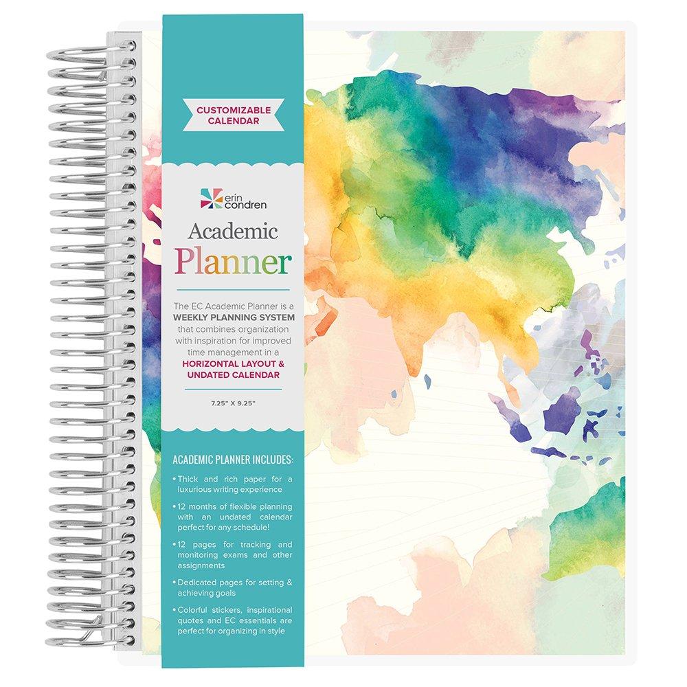 Erin Condren Non-Dated Academic Planner- Watercolor World