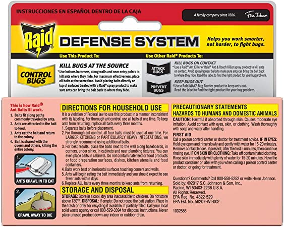 Kills Colony 1 trap For outdoor or Indoor Use Raid Ant Bait