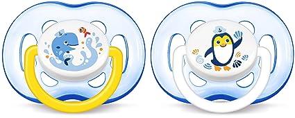 Philips AVENT - Chupete (Free-flow baby pacifier, Ortod?ntico, Silicona, Azul, 18+ meses, Inglaterra)