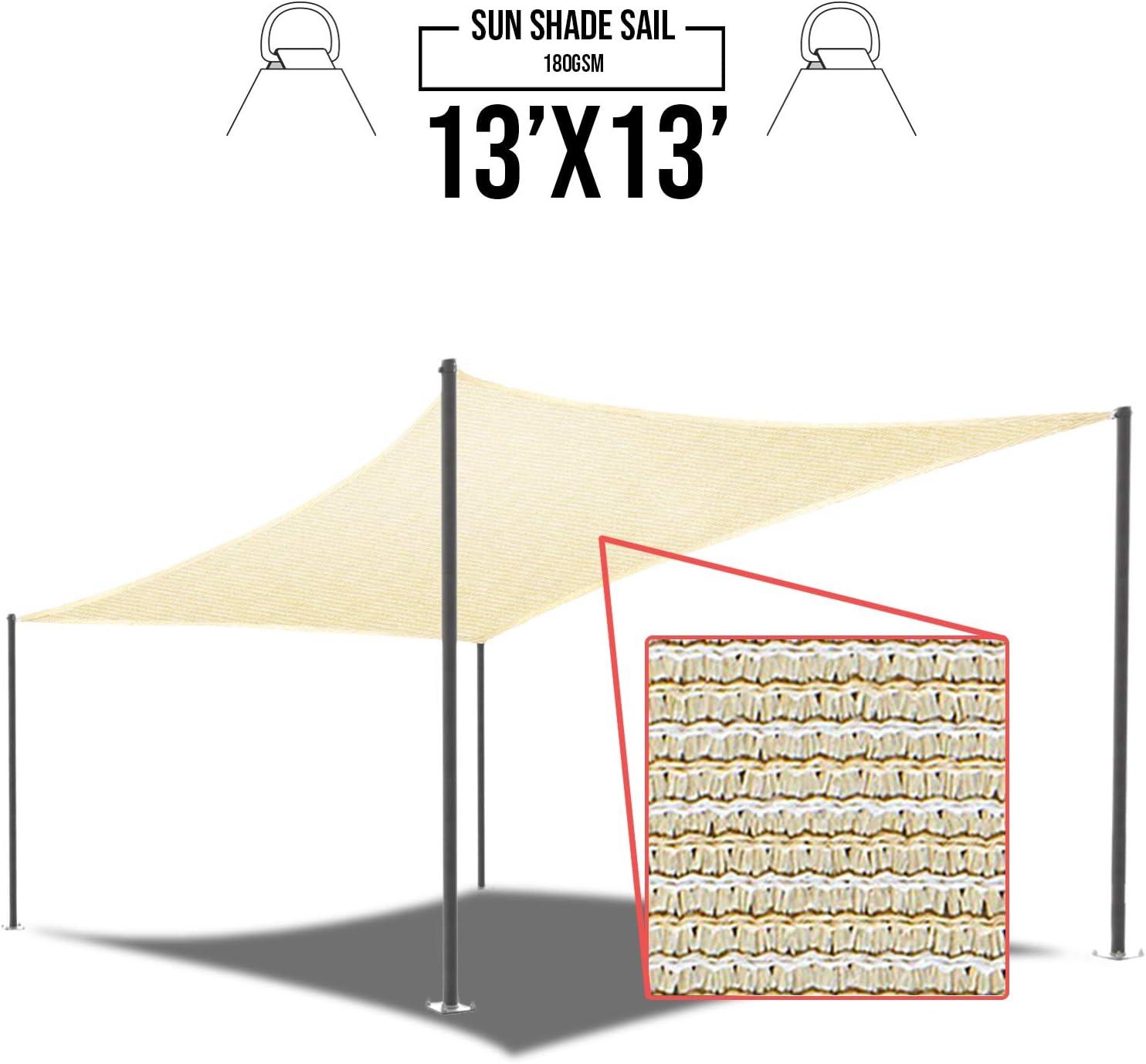 E/&K Sunrise 3 x 5 Tan Beige Sun Shade Sail Rectangle Canopy Permeable UV Block Fabric Durable Patio Outdoor Set of 1