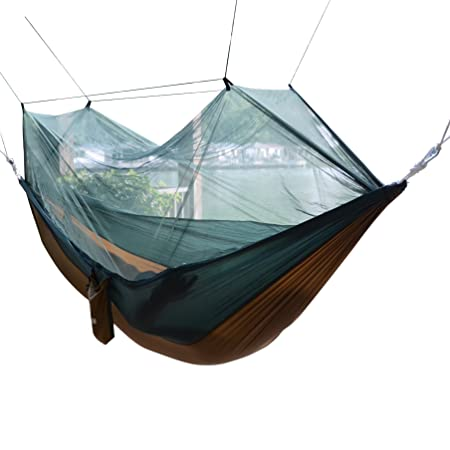 Qyuhe Portable Nylon Fabric Travel Camping Hammock with Mosquito Net 8.53 x 4.6 ft (Green and Camel, 8.53 x 4.6 ft)