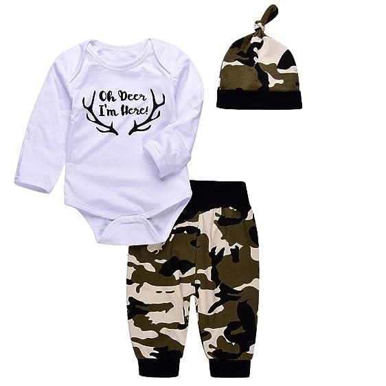 6bc2534d4474 Amazon.com  Angekids 3Pcs Baby Boys Camouflage Romper Tops+Pants ...