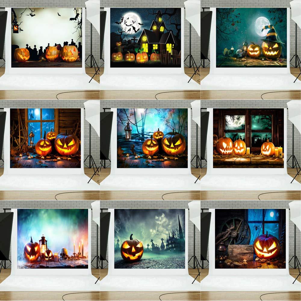JiaMeng Decoración del hogar Fondos de Halloween Calabaza Vinilo ...