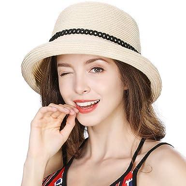 Kundschaft zuerst klare Textur Ausverkauf Comhats Damen Faltbarer Strohhut Sommerhut Sonnenhut breite Krempe mit  kinnriemen