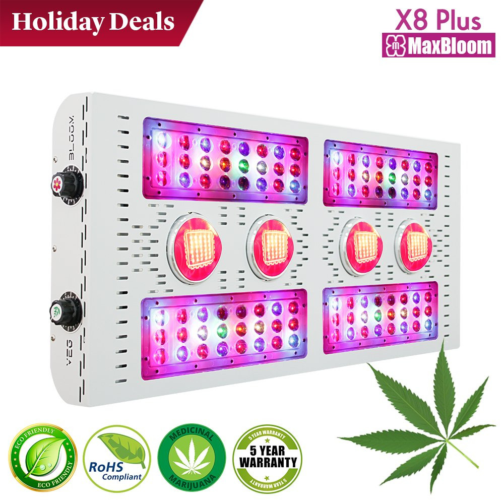 LED grow light full spectrum for indoor plants veg and flower dimmable COB 12-band UV&IR MaxBloom high yield 800W X8 Plus professional led grow light for marijuana over 9 years by MaxBloom (Image #1)