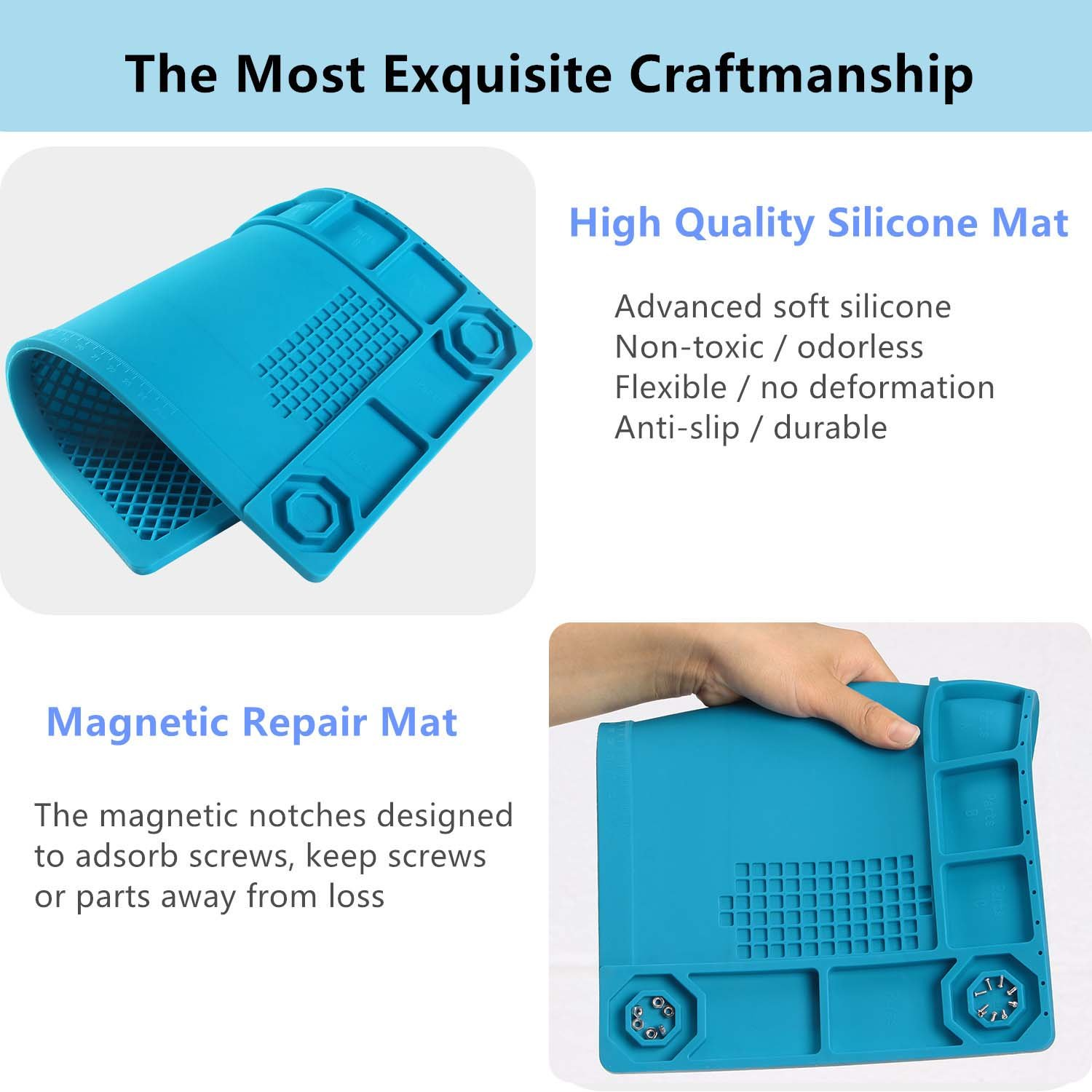 SEASWAL Silicone Solder Mat, Magnetic Heat Insulation Work Mat, with Tools Parts Organizer Electronics Repair Mat for Soldering Iron, Heat Gun, Phone and Computer Repair 15''x8.3'' Blue by SEASWAL (Image #6)