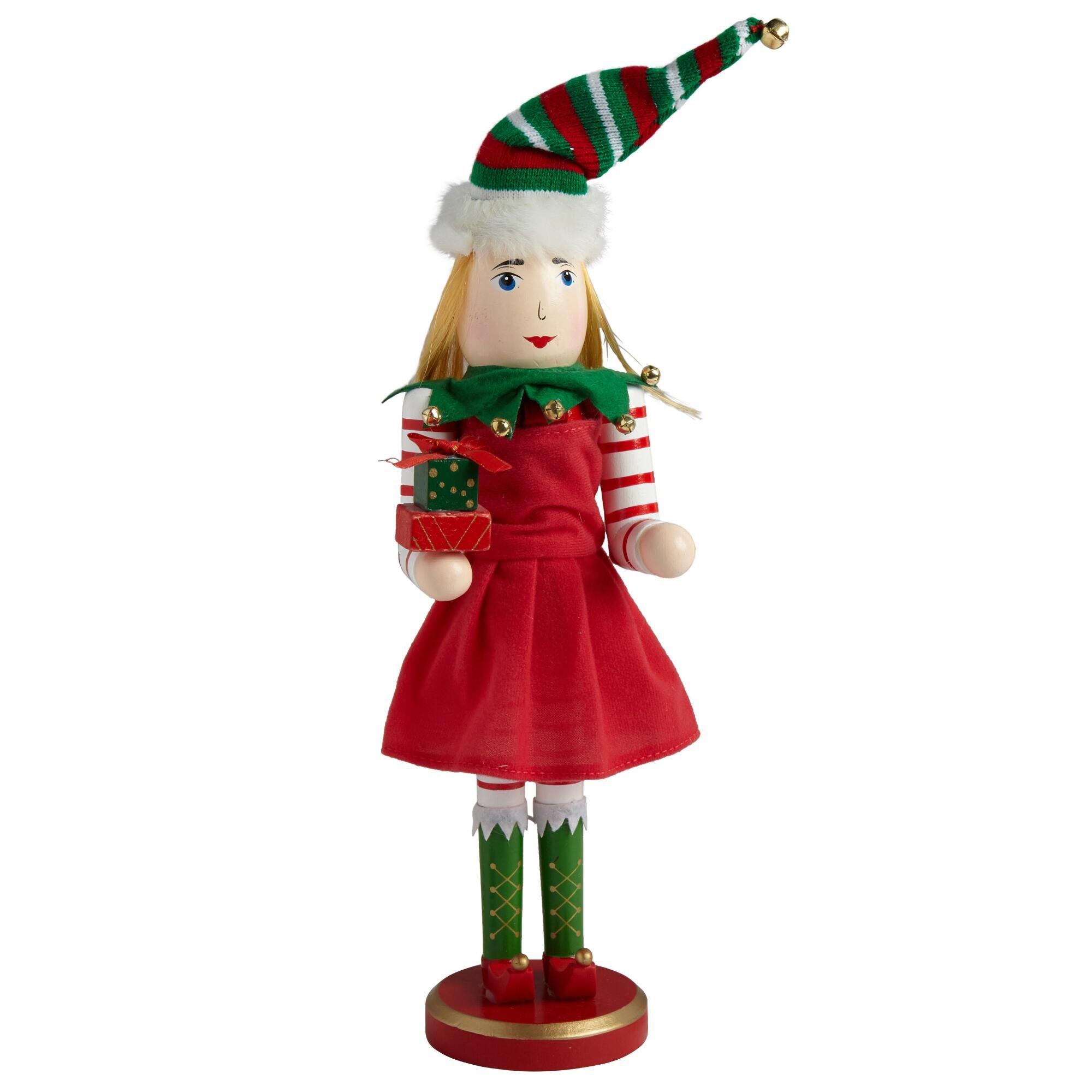 """15"""" Girl Elf Nutcracker Holding Gifts"""