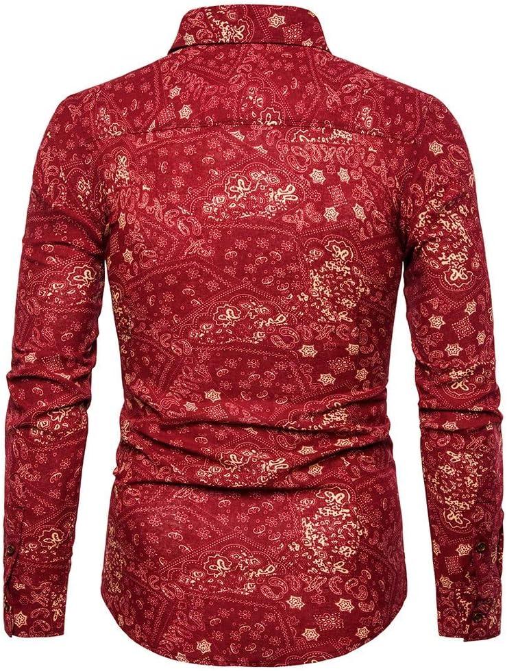 DENGZHOUSHIYA Hombre Cuello En Punta Delgada De Impresión Camisa De Manga Larga Proteccion (Color : Red, Size : 5XL): Amazon.es: Hogar